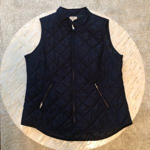 crown & ivy navy puffer vest